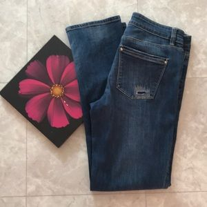WHBM Distressed Straight Crop Jeans 6